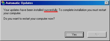Windows Update dialog with typo